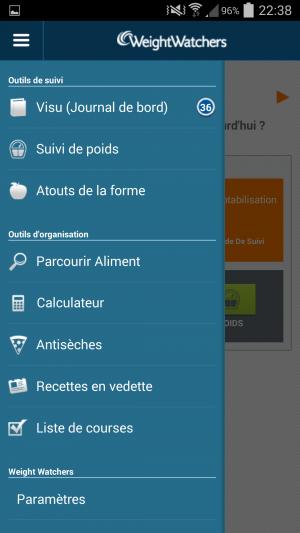 Le menu de l'application mobile