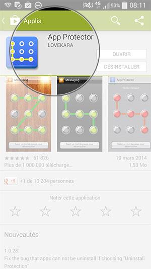 Installez App Protector et lancez le.