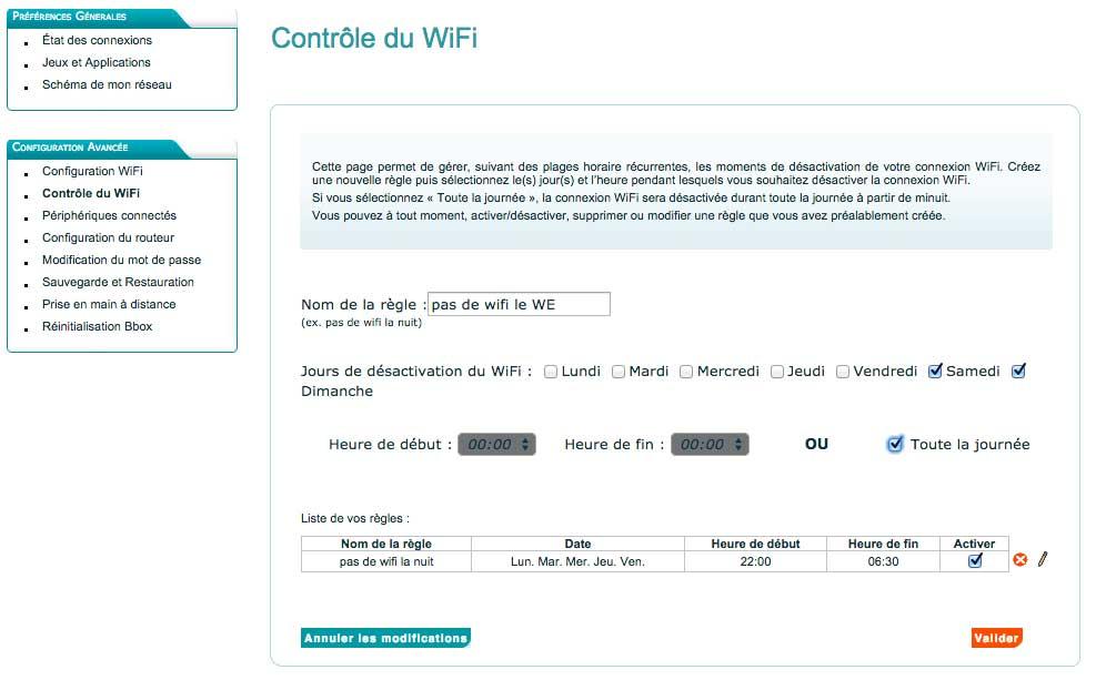 Gestion du wifi chez Bouygues
