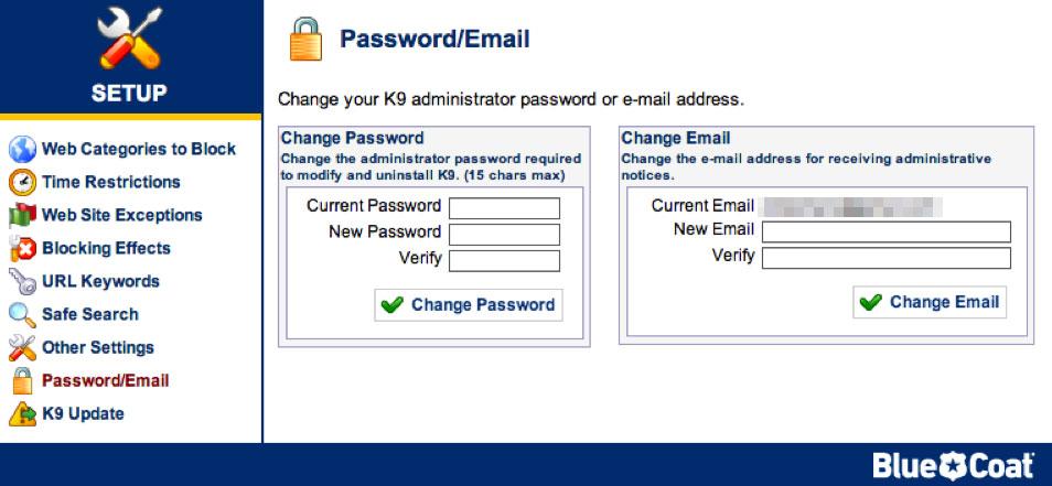 K9 mot de passe